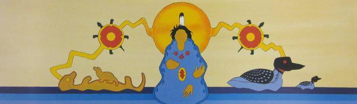 Drawing of a central female figure holding a child-like form, an orange-yellow circle is behind her head, yellow zig-zag lines extend out to the right and left and next to her sits an animal on her right and a loon on her left